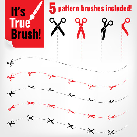 scissors cut: Vector scissors icons with cut lines. Pattern brushes included Illustration