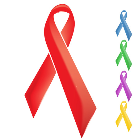 and pink ribbon: Red support unity, solidarity and awareness theme ribbon Illustration