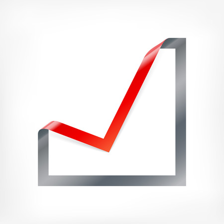 checkbox: Tick mark icon. Checkbox sign with angle folded on square paper