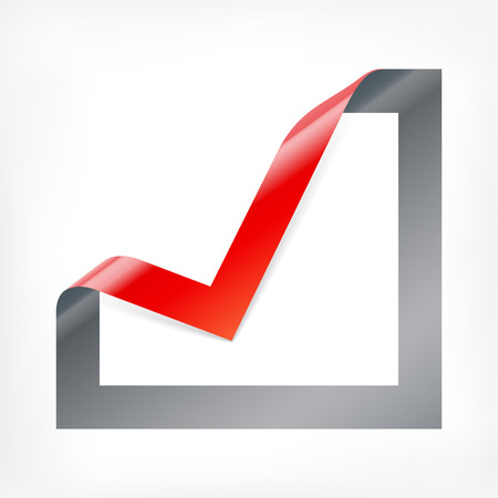 tick mark: Tick mark icon. Checkbox sign with angle folded on square paper