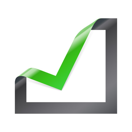 yes check mark: Tick mark icon. Checkbox sign with angle folded on square paper