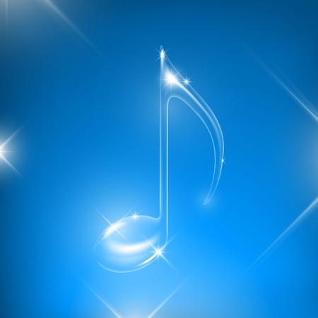 Vector de cristal brillante trnasparent música nota aislada sobre fondo negro.