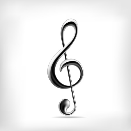 Vector glass music note isolated on white background. Illustration