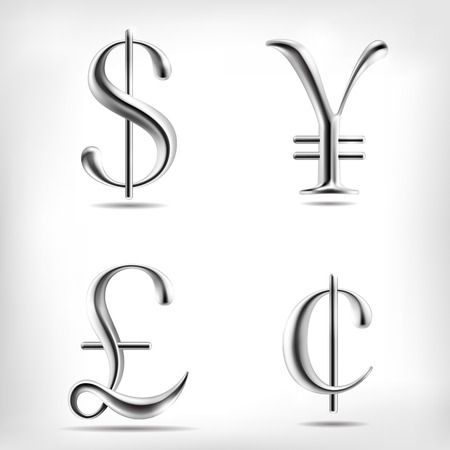 Vector metal alloy currency signs set. High detailed mesh Object Illustration