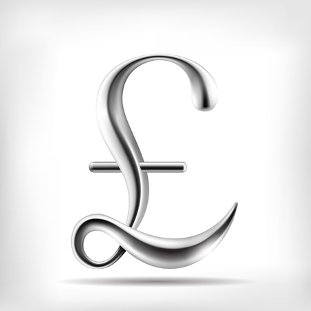 Vector metal alloy currency sign Pound, Lira. High detailed mesh Object