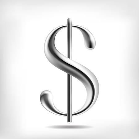 dollaro: Vector lega metallica moneta simbolo del dollaro. Alta oggetto dettagliata maglia