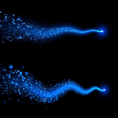Vector neon blue sparkling falling star. Stardust trail. Cosmic glittering wave. Illustration