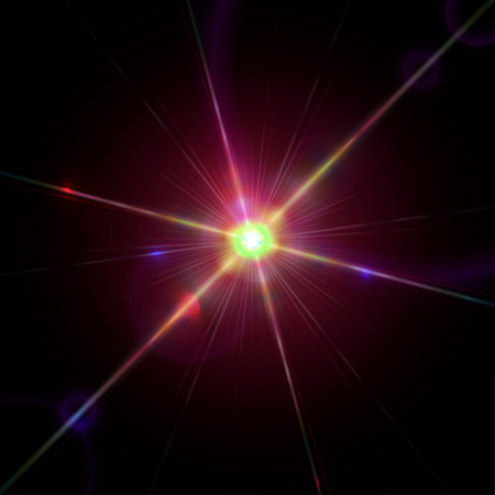 diffraction: Bright sparkling star with lens flare effect and light diffraction Illustration