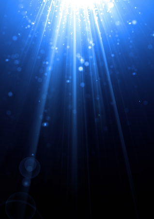 diffraction: Bright sparkling light beam with lens flare effect and light diffraction Stock Photo
