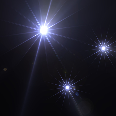 diffraction: Bright sparkling stars with lens flare effect and light diffraction