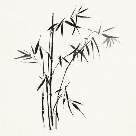 japonais: Branches de bambou décrites dans le style noir et blanc traditionnelle asiatique