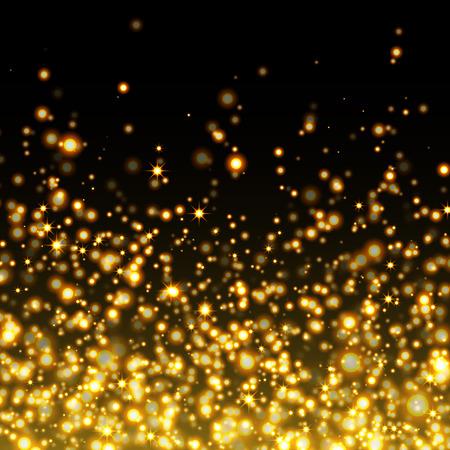 polvo: Vector de oro brillan fondo que brilla polvo de estrellas