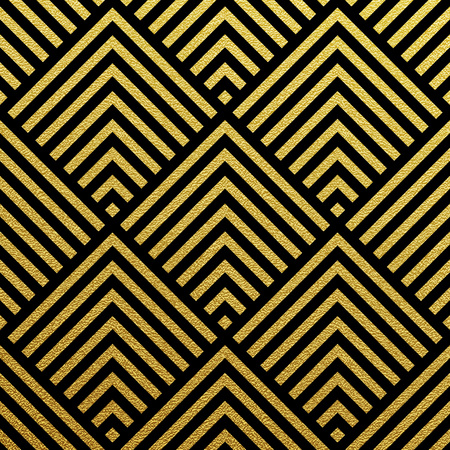 glittering: Geometric gold glittering seamless pattern on black background. Illustration
