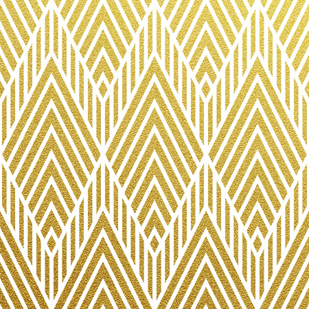 Geometrische glinsterende gouden naadloze patroon op een zwarte achtergrond.