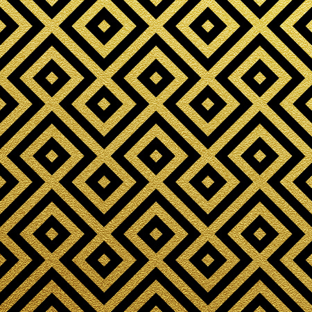Geometric gold glittering seamless pattern on black background. Stock Illustratie