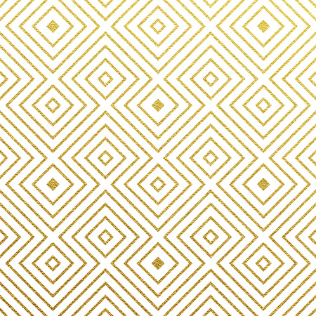 Geometric gold glittering seamless pattern on black background. Illustration