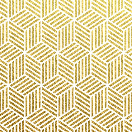 Geometric gold glittering seamless pattern on black background. Stock Illustratie