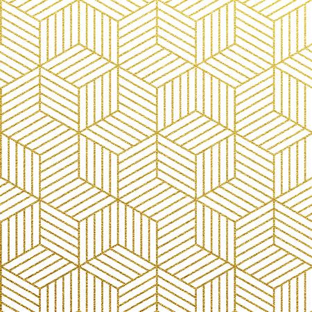 幾何学的な金きらびやかなシームレス パターン白い背景の上。  イラスト・ベクター素材