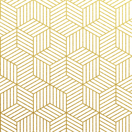 Geometric gold glittering seamless pattern on white background. Stock Illustratie