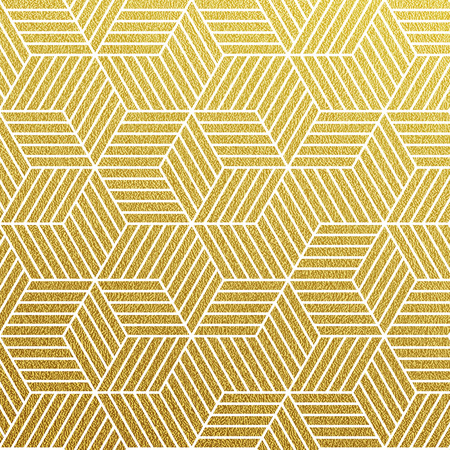 Oro geometrico scintillante seamless su sfondo bianco.