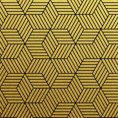christmas wallpaper: Geometric gold glittering seamless pattern on black background. Illustration