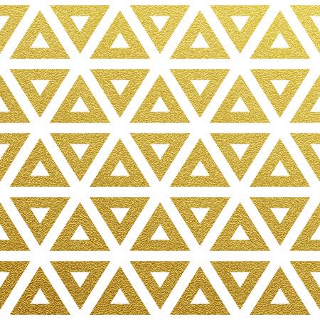 Geometric gold glittering seamless pattern on white background. Illustration