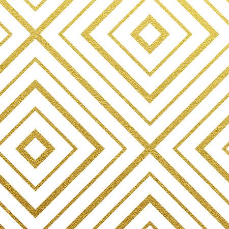 Geometric gold glittering seamless pattern on white background. Stock Photo