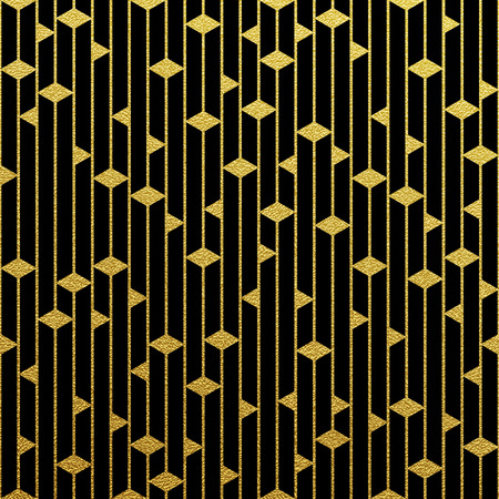 Geometric gold glittering seamless pattern on black background. Ilustração