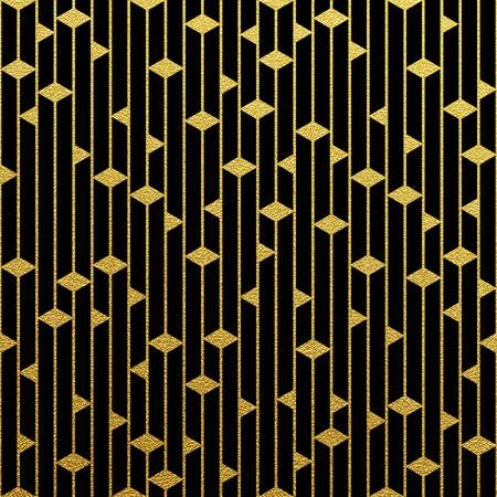 Geometric gold glittering seamless pattern on black background. Illustration