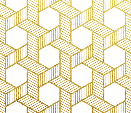 Geometric gold glittering seamless pattern on white background. Иллюстрация