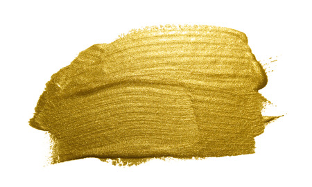 white paint: Gold paint brush stroke. Abstract gold glittering textured art illustration. Stock Photo