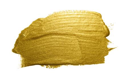 golden texture: Gold paint brush stroke. Abstract gold glittering textured art illustration. Stock Photo