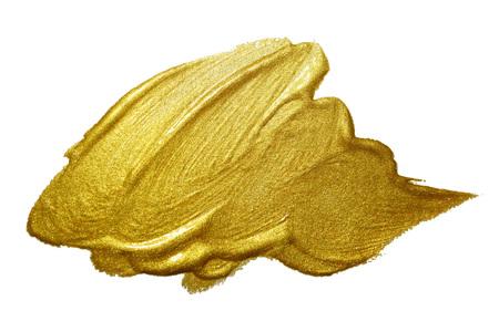 brush stroke: Gold paint brush stroke. Abstract gold glittering textured art illustration. Stock Photo