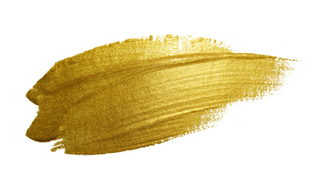 ink art: Gold paint brush stroke. Abstract gold glittering textured art illustration. Stock Photo