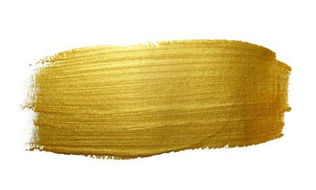 Gold paint brush stroke. Abstract gold glittering textured art illustration. Stockfoto