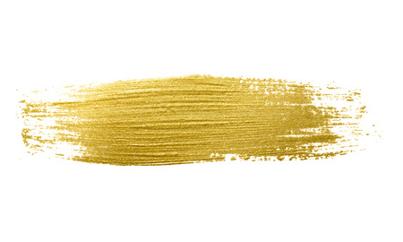 brush stroke: Gold paint brush stroke. Abstract gold glittering textured art illustration. Stock Photo