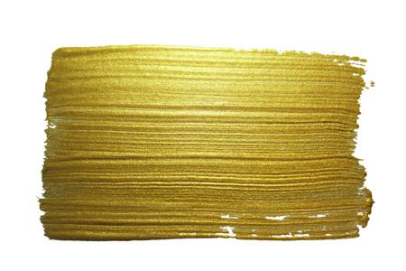 brush paint: Gold paint brush stroke. Abstract gold glittering textured art illustration. Stock Photo