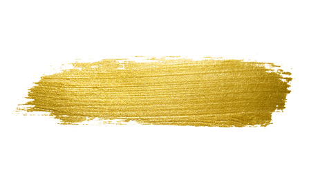 Gold paint brush stroke. Abstract gold glittering textured art illustration. 스톡 콘텐츠
