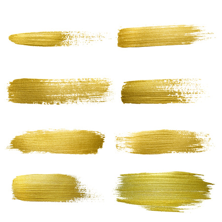 stain: Gold paint smear stroke stain set. Abstract gold glittering textured art illustration. Abstract gold glittering textured art illustration.