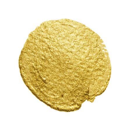 Gold paint brush stain. Abstract gold glittering textured art illustration.