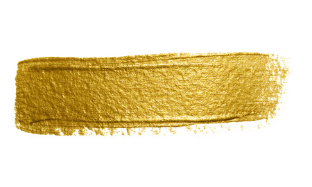 Gold paint brush stroke. Abstract gold glittering textured art illustration. Banco de Imagens