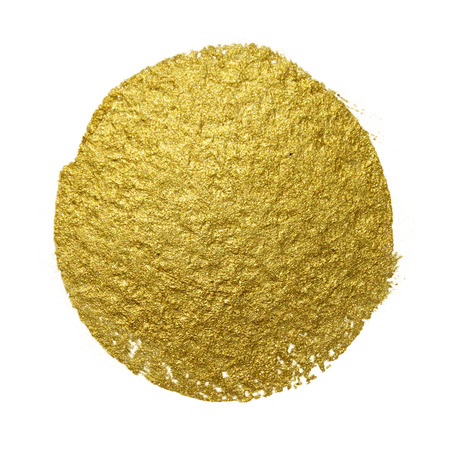 painted: Gold paint brush stain. Abstract gold glittering textured art illustration.