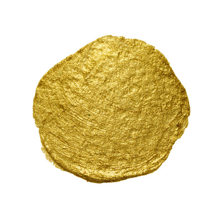 gold circle: Gold paint circle smear stain texture. Abstract gold glittering textured art illustration.
