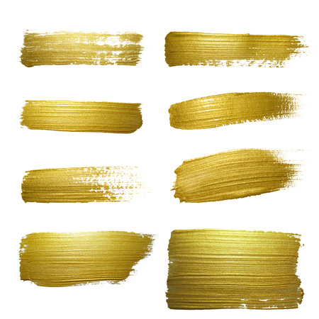 christmas gold: Gold paint smear stroke stain set. Abstract gold glittering textured art illustration. Abstract gold glittering textured art illustration.