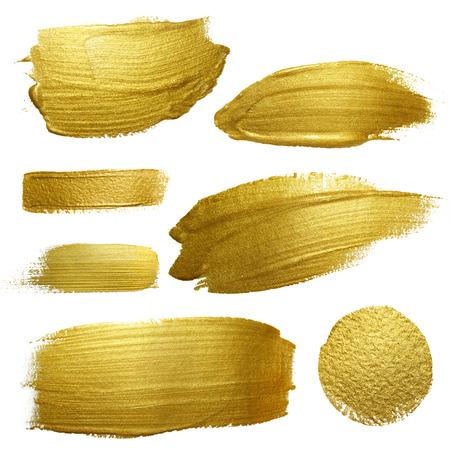 maleza: Conjunto de la pintura de oro ictus frotis mancha. Resumen de oro brillante ilustración del arte textura. Resumen de oro brillante ilustración del arte textura. Foto de archivo