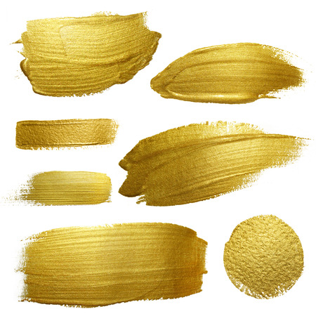 gold yellow: Gold paint smear stroke stain set. Abstract gold glittering textured art illustration. Abstract gold glittering textured art illustration.
