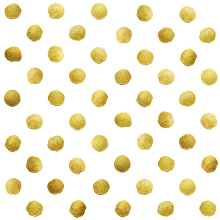 abstract grunge: Gold glittering polka dot pattern on white background.