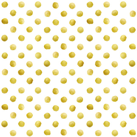 dots: Gold glittering polka dot pattern on white background.