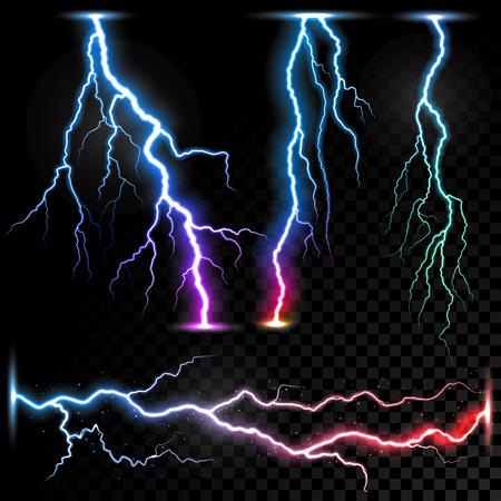 Vector realistic lightnings thunderbolt on transparent background. Stock Illustratie