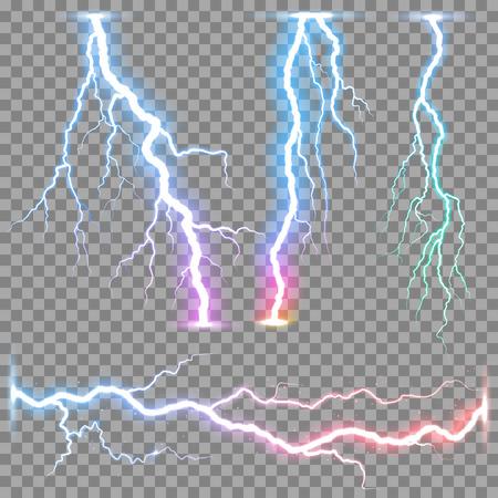 descarga electrica: Relámpagos realistas vector rayo en la fondo transparente.